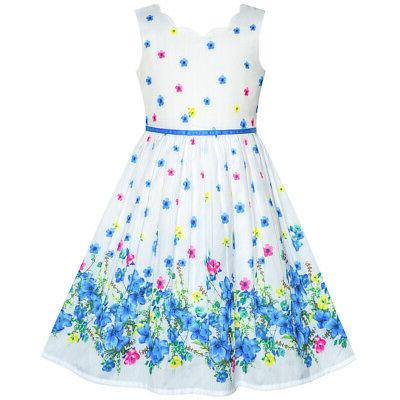 us stock girls dress blue flower petal