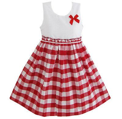 US STOCK Sunny Fashion Girls Dress Red Tartan Sundress Kids
