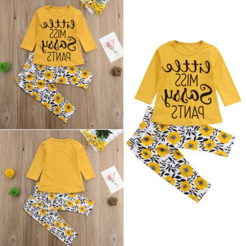 US Stock Girls T Top+Floral Set