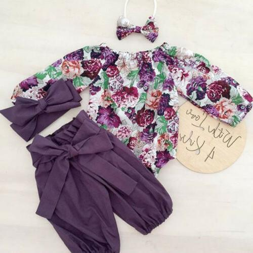 US Stock Newborn Baby Girls Tops Romper Floral Pants Legging