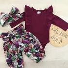 3pcs newborn baby girls tops romper floral