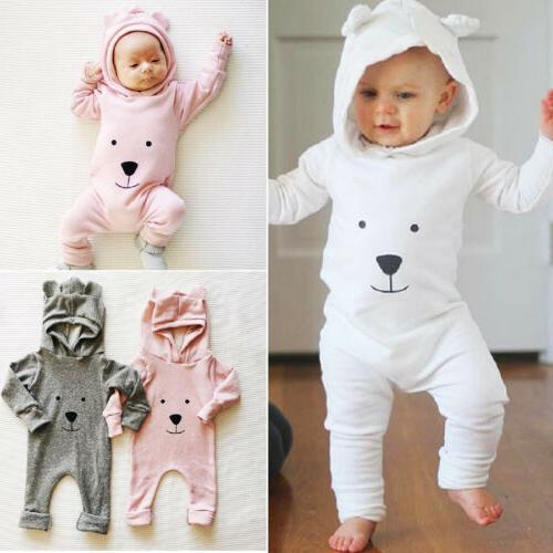 US Stock Toddler Baby Boys Girls Clothes Hooded Romper Bodys