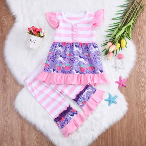 US Stock Kids Baby Girls Outfits Clothes Dress Tops Dress Pants