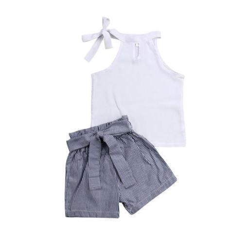US Baby Girl Kid Outfit Clothes T-shirt Top+Stripe Shorts