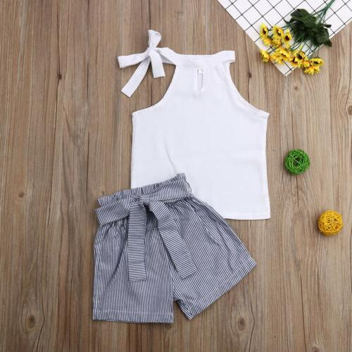 US Kid Summer Outfit Clothes T-shirt Top+Stripe Shorts Pants