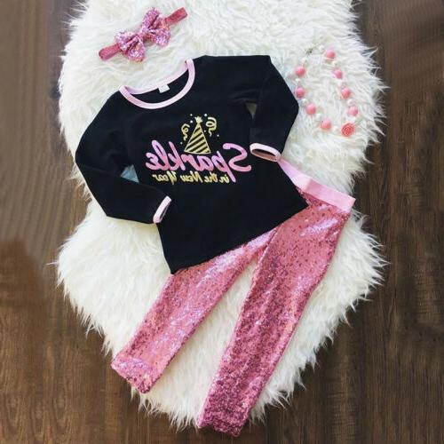 US Toddler Baby Kids Girls Top Blouse Sequin Pants Leggings