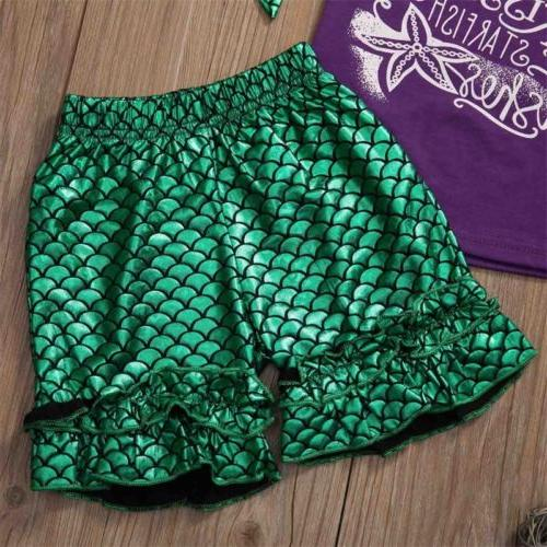 US Toddler Baby Mermaid Girl Clothes Tops + Pants+Headbands Outfit Set