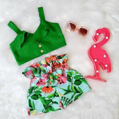 US Toddler Kids Baby Girls T-shirt Tops + Shorts Outfits Summer Clothes Set