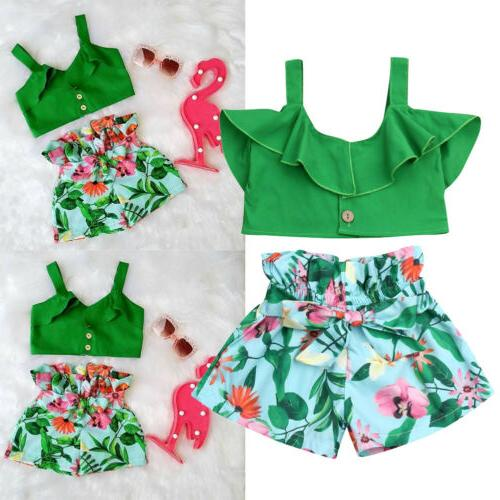 US Kids Girls T-shirt Vest + Outfits Summer Clothes