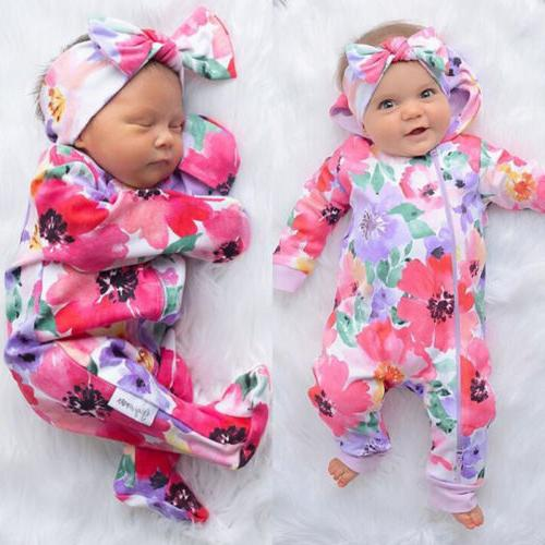 US Newborn Girl Romper Jumpsuit Clothes