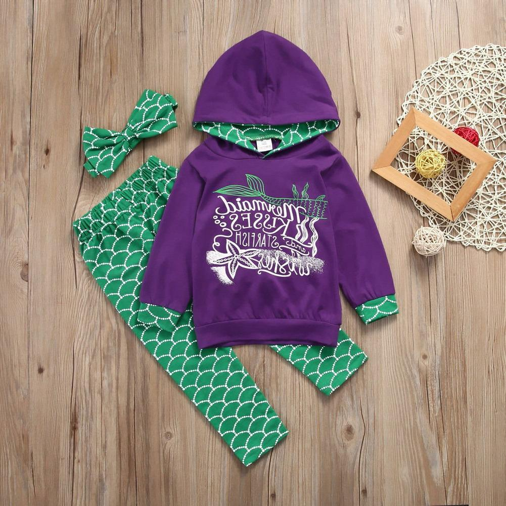 Girls Hooded Pants Outfits 3Pcs Clothes 2-6T