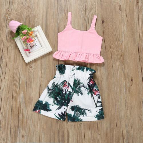 Flamingo Toddler Baby Girls Vest Crop Tops Pants US
