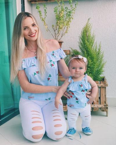 USA Mother Daughter Girl Floral Striped Hole Pants Clothes