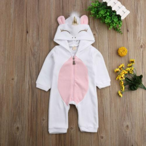 USA Baby Girl 3D Flannel Romper Jumpsuit Bodysuit
