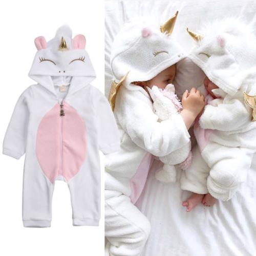 usa newborn baby girl 3d unicorn flannel