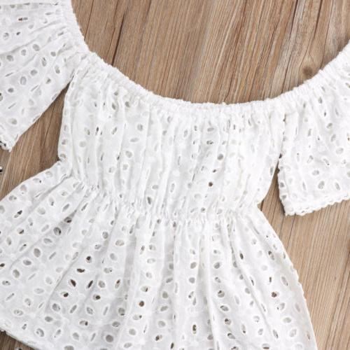 USA Off Shoulder Lace Striped Shorts Clothes