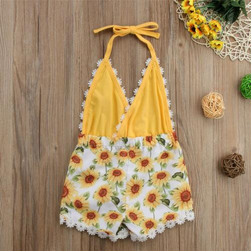 USA Toddler Girls Sunflower Romper Jumpsuit Outfit Clothes