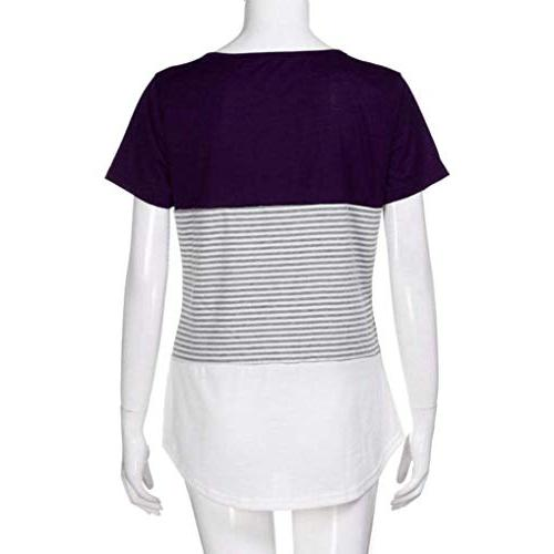 Women's Sleeve O-Neck Triple Color Block Loose Casual T Teens Purple -1