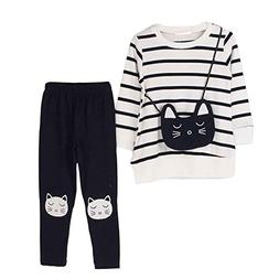 little Girls Cute Long Sleeve Top   Pant Clothes Set White C