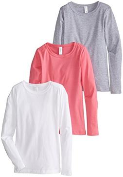 Clementine Little Girls' Everyday Long Sleeve Tee 3 Pack, Wh