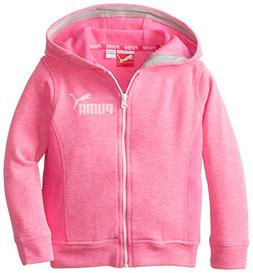 PUMA Little Girls' Slub Zip Hoodie, Pink Glo, 3T