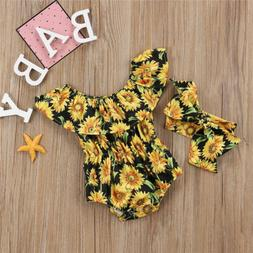 Lovely Newborn Baby Girls Sunflower Romper Bodysuit Jumpsuit