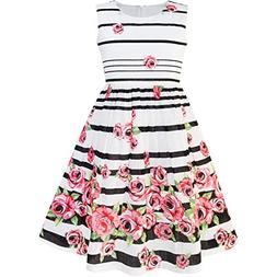 Sunny Fashion LP34 Girls Dress Black Striped Pink Flower Siz