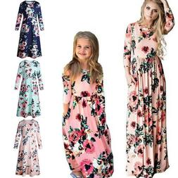 Mother Daughter Women Kid Girl Floral Long Sleeves Maxi Dres