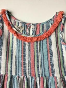 NEW ADORABLE Lucky Brand Teen Girls Babydoll Stripe Top w/Fr