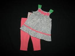 "NEW ""CORAL ZEBRA"" Capri Pants Girls Clothes 4T Spring Summer"
