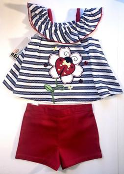 KIDS HEADQUARTERS New Girl Red, White And Blue Short Set Siz