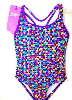 NEW GIRLS SIZE 7 SPEEDO ONE PIECE SWIMSUIT SUIT RAINBOW GEOM