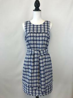 NEW J.Crew Belted Dress Tweed Size 6 White Blue Multi Sample