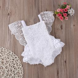 New Kids Baby Girl Clothes Lace Floral Romper Jumpsuit Sunsu
