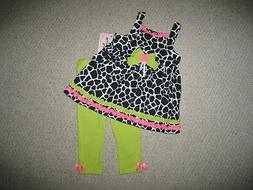 "NEW ""LIME GIRAFFE"" Capri Pants Girls Clothes 4 Spring Summer"
