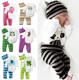 Newborn Baby Clothes Boy Girl Long Sleeve Romper Tops & Pant