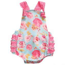 Newborn Baby Girl Romper Jumpsuit Bodysuit Ruffels Clothes O