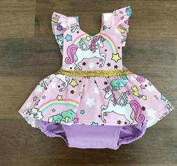 Newborn Baby Girl Unicorn Romper Jumpsuit Bodysuit Clothes O