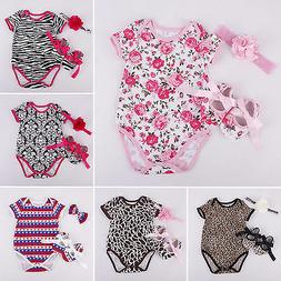 Newborn Baby Girls Romper Jumpsuit Bodysuit Shoes Headband C