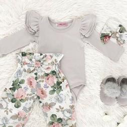Newborn Infant Baby Girl Floral Clothes Jumpsuit Romper Body