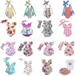 Newborn Infant Baby Girl Floral Romper Jumpsuit Bodysuit Hea