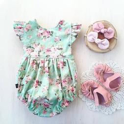 US Newborn Baby Girl Romper Floral Bodysuit Sunsuit Summer C