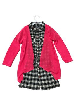 NWT Limited Too Girls' Black & White Plaid Dress with Pink K