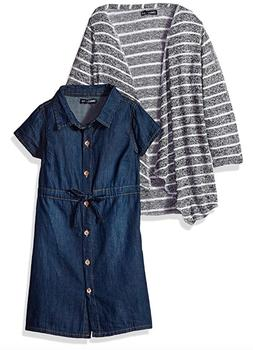 NWT Limited Too Girls' Denim Dress with Knit Sweater