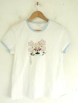 NWT LIMITED TOO Girls Top White & Blue Pretty Kitty Short Sl