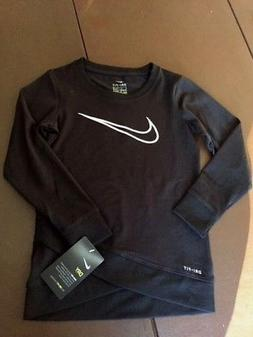 NWT Nike Girls Youth Dri-FIT Crossover Tunic LS Shirt Black