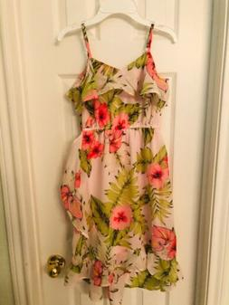 NWT The Childrens Place Floral Ruffled Off Shoulder Dress Si