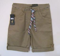 NWT U.S. POLO ASSN. GIRLS KHAKI SHORTS  10, 12