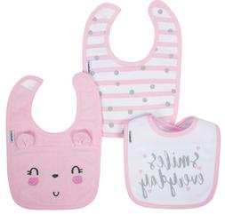 GERBER Organic Cotton 3-Pack Baby Girl's Bibs - Pink - Kitty