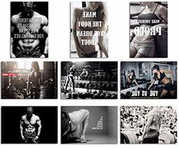 9X Poster Fabric Bodybuilding Men Girl Fitness Workout Quote